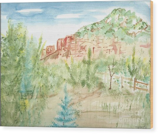 Backyard Sedona Wood Print
