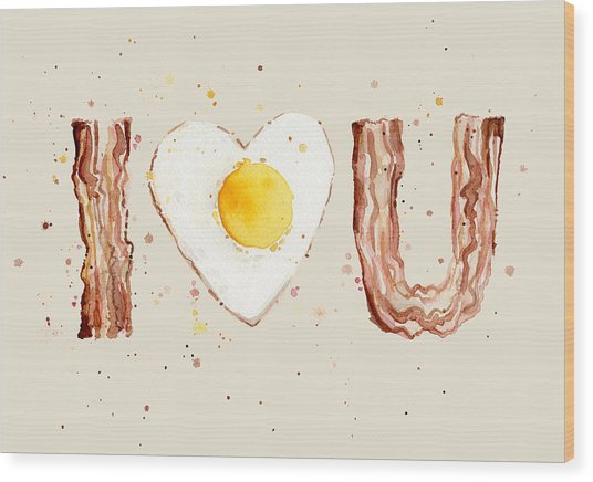 Bacon And Egg I Heart You Watercolor Wood Print