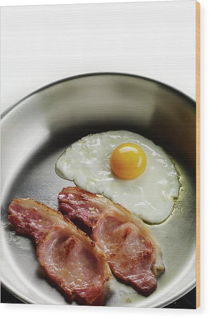 Bacon And Eggs Cooking In A Frying Pan Wood Print