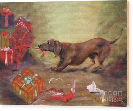 Bad Dog Christmas Wood Print by Stella Violano