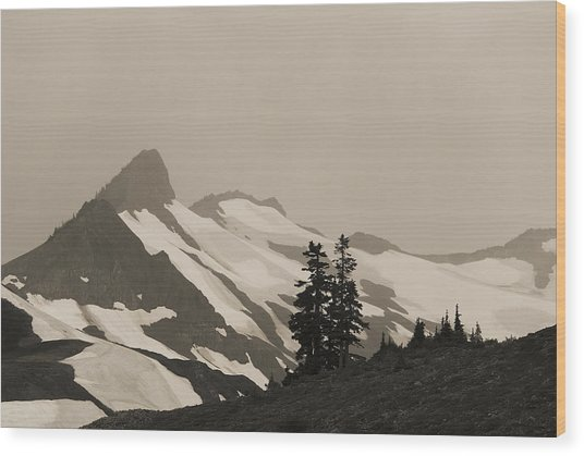 Fog In Mountains Wood Print