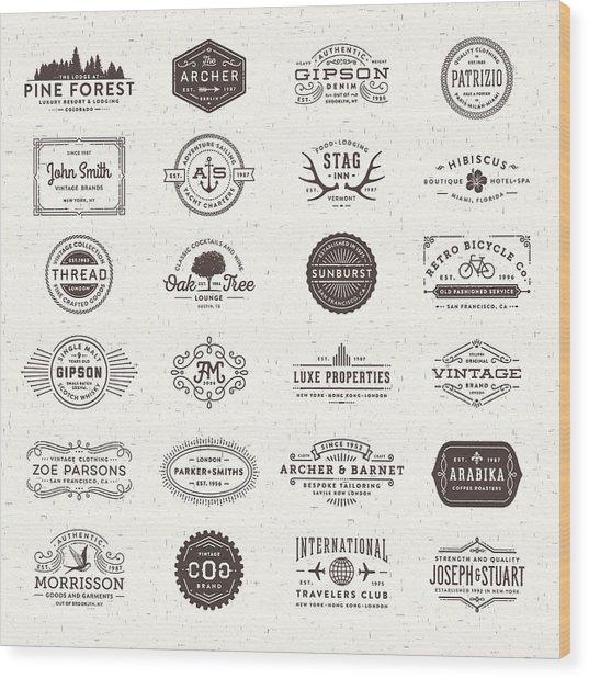 Badges, Labels And Frames Wood Print by Aleksandarvelasevic