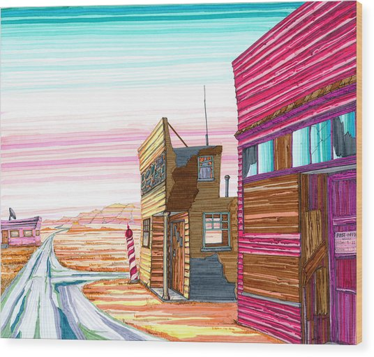 Wood Print featuring the drawing Badlands Barbershop by Scott Kirby