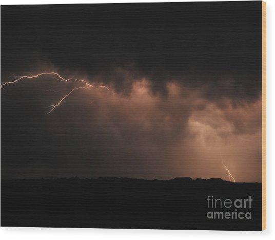 Badlands Lightning Wood Print by Chris Brewington Photography LLC