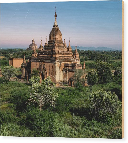 Bagan, Ancient Temple Lit By Moonlight Wood Print by Martin Puddy