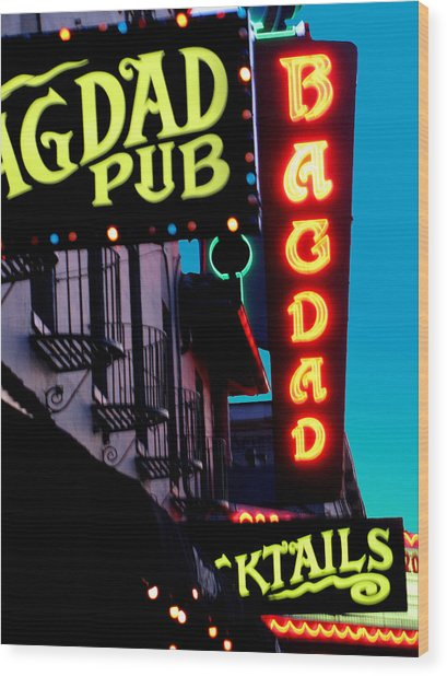 Bagdad Pub Wood Print by Gail Lawnicki