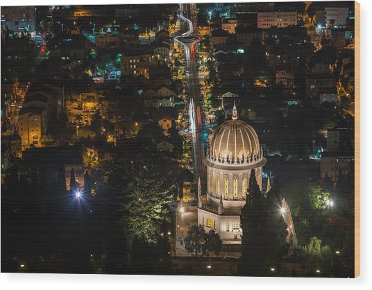 Baha'i Temple At Night Wood Print