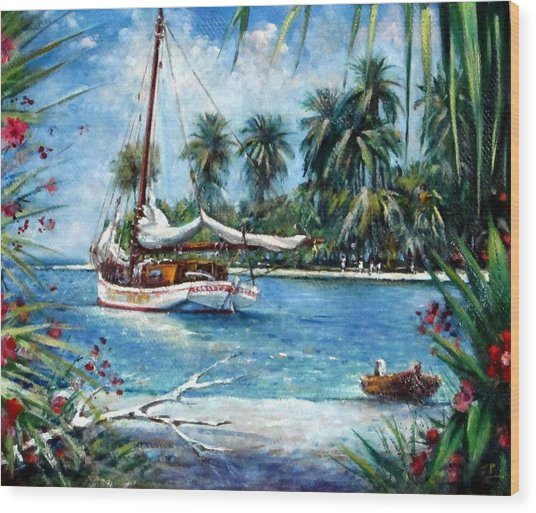 Bahamas Moored For The Night Wood Print