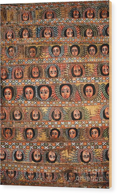 Bahar Bahir Dar Ethiopia Bright Colour Painted Church Ceiling Wood Print