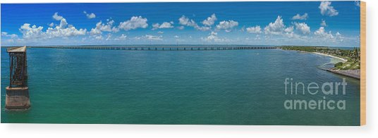 Bahia Honda Bridge Panorama Wood Print