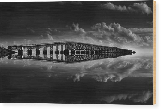 Bahia Honda Bridge Reflection Wood Print
