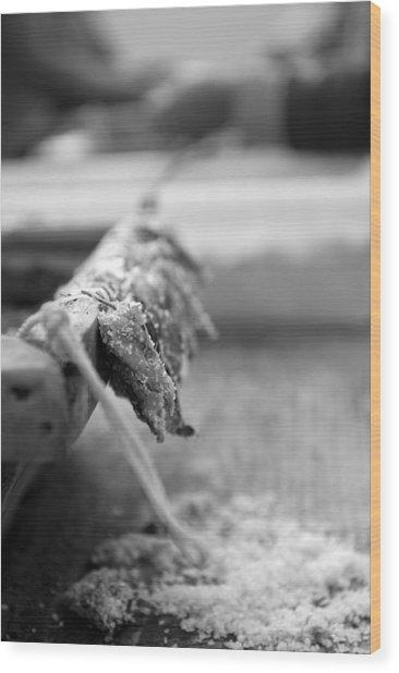 Bait On Hooks  Wood Print