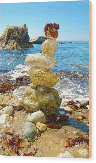 Balanced Beach Rock Stack Wood Print