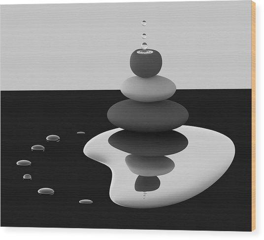 Balanced Drops Wood Print by Antonyus Bunjamin (abe)