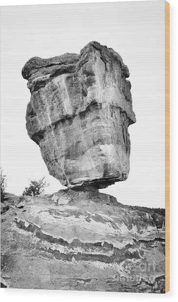 Balanced Rock In Black And White Wood Print