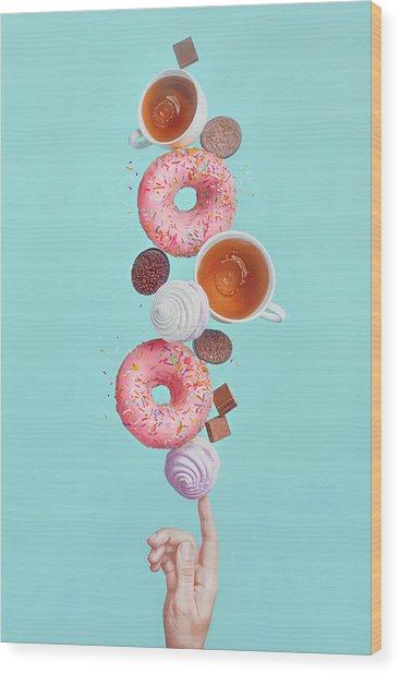 Balancing Donuts Wood Print by Dina Belenko Photography