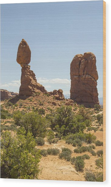 Balancing Rock In Arches Wood Print