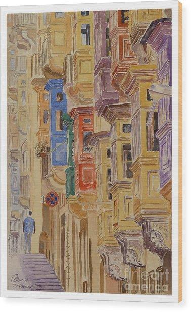 balconies Valletta Wood Print