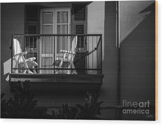 Balcony Bathed In Sunlight Wood Print