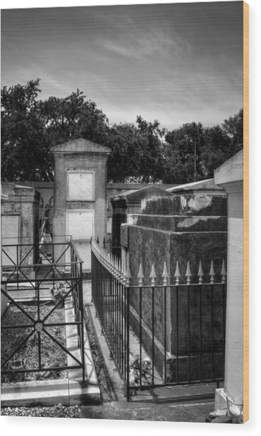 Balcony Of The Dead In Black And White Wood Print