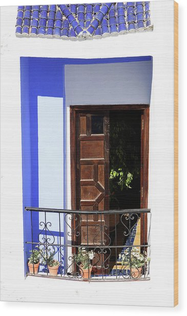 Balcony Old Medina Tangier Morocco Colour Version Wood Print by PIXELS  XPOSED Ralph A Ledergerber Photography