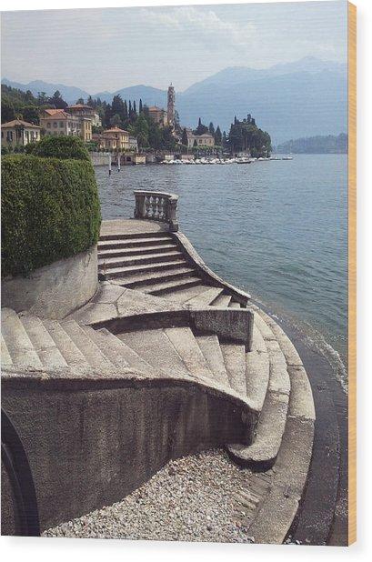 Balcony On The Lake Wood Print