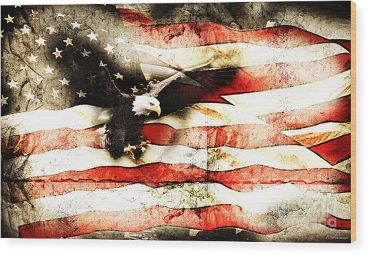 Bald Eagle Bursting Thru Flag Wood Print