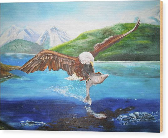 Bald Eagle Having Dinner Wood Print