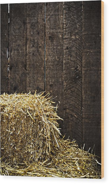 Bale Of Straw And Wooden Background Wood Print