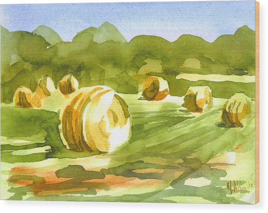 Bales In The Morning Sun Wood Print