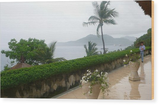 Bali In Th Rain Wood Print by Jack Edson Adams