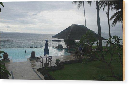 Bali Pool By The Ocean Wood Print by Jack Edson Adams