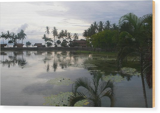 Bali Reflections In The Bay Wood Print by Jack Adams