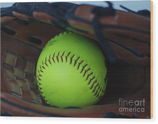 Ball And Glove Wood Print