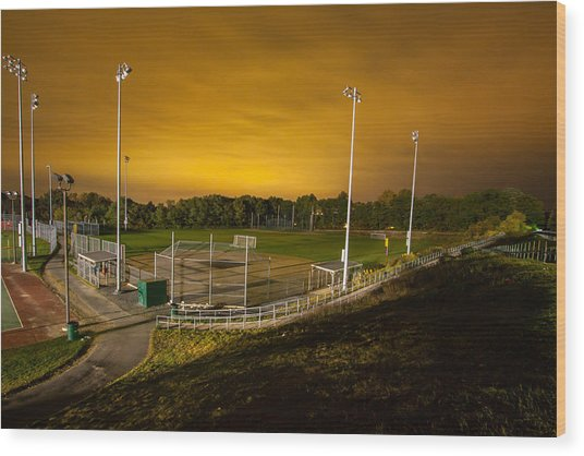 Ball Field At Night Wood Print