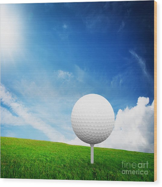 Ball On Tee On Green Golf Field Wood Print