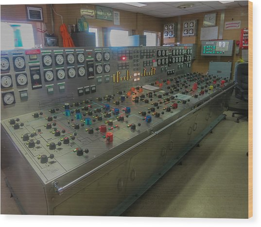 Ballast Control Panel Of The Ocean Valiant Semi Submersible Drilling Rig Wood Print