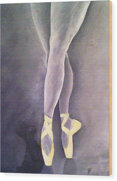Ballerina And Kitten Wood Print by Joy Gilley