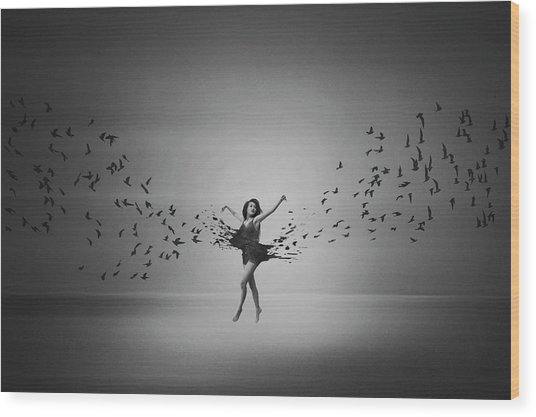 Ballerina Flight Of Birds Wood Print