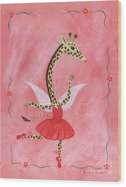 Ballerina Giraffe Girls Room Art Wood Print by Kristi L Randall Brooklyn Alien Art