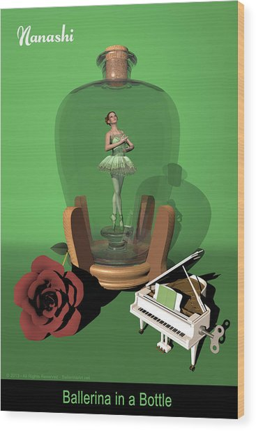 Ballerina In A Bottle - Nanashi Wood Print by Alfred Price