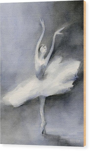 Ballerina In White Tutu Watercolor Painting Wood Print