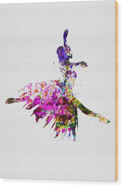Ballerina On Stage Watercolor 4 Wood Print