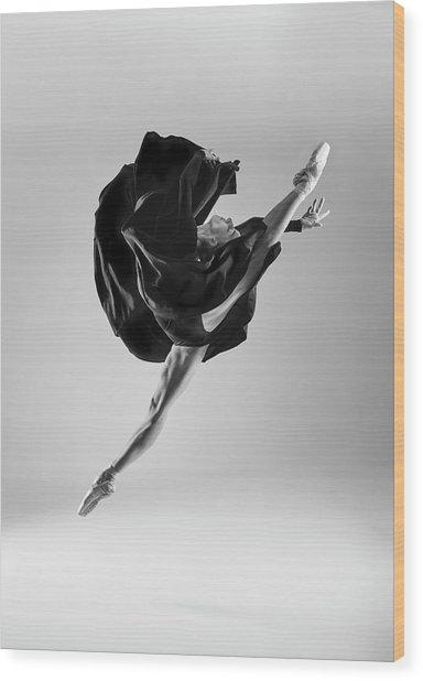 Ballerina Wood Print by Piotr Leczkowski