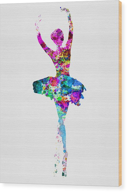 Ballerina Watercolor 1 Wood Print