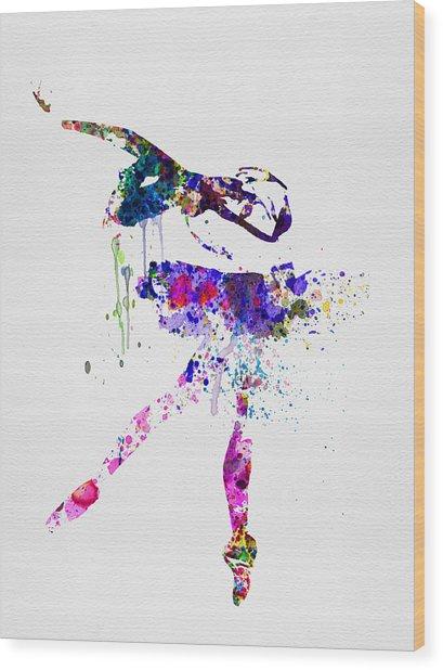 Ballerina Watercolor 2 Wood Print