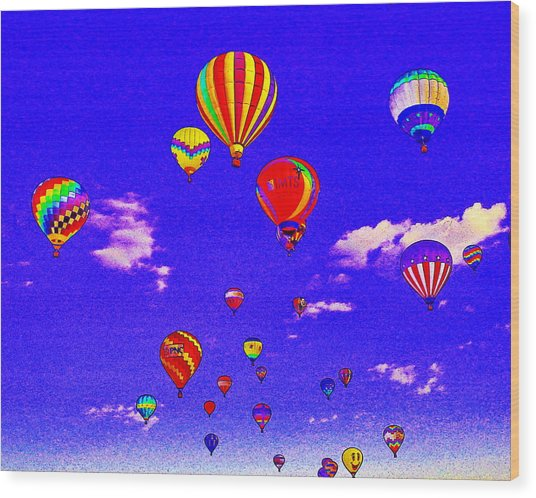 Ballon Race Wood Print