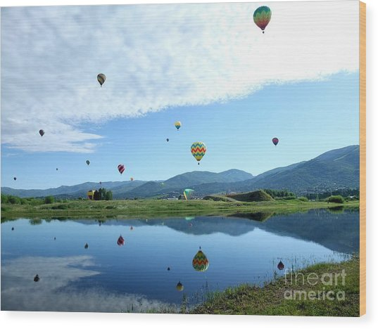 Balloon Reflections Wood Print by Stephen Schaps