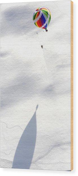 Balloon Snow Shadow Wood Print by Stephen Richards