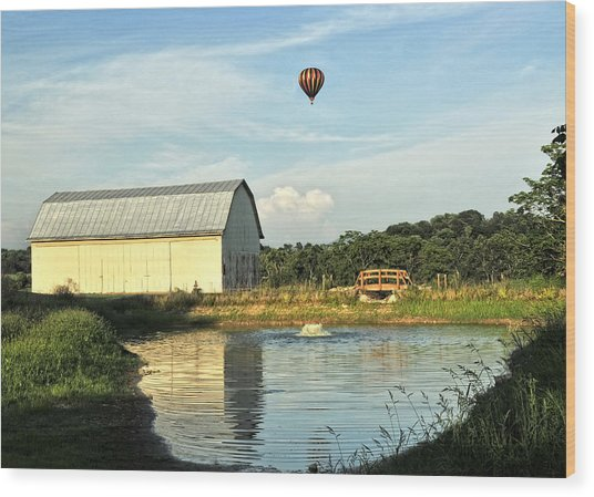 Balloons And Barns Wood Print
